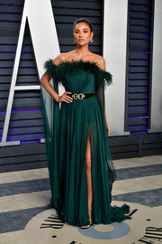 Shay Mitchell was boudoir-glam in a feathered off-the-shoulder gown by Labourjoisie at the 2019 Vanity Fair Oscar party.