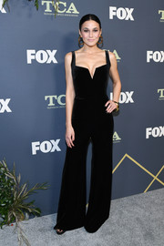 Emmanuelle Chriqui looked sassy in a low-cut black velvet jumpsuit by Galvan at the 2019 Fox Winter TCA Tour.