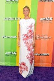Gwyneth Paltrow looked elegant in a white Adam Lippes column dress with red sequin detailing at the 2019 amfAR Gala Los Angeles.