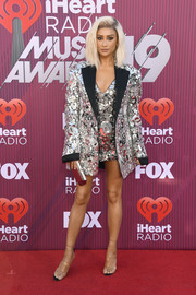 Shay Mitchell was impossible to miss in this heavily embellished blazer and dress combo by Nicolas Jebran at the 2019 iHeartRadio Music Awards.