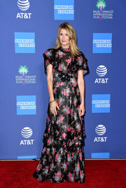 Laura Dern kept it demure in a ruffled floral gown by Erdem at the 2020 Palm Springs International Film Festival Awards.
