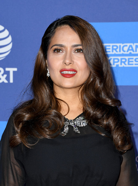 More Pics of Salma Hayek Long Curls (5 of 10) - Salma Hayek Lookbook - StyleBistro [hair,face,hairstyle,eyebrow,long hair,beauty,lip,brown hair,chin,layered hair,arrivals,salma hayek,palm springs convention center,california,palm springs international film festival film awards gala,salma hayek,united states,celebrity,stock photography,photograph,image,photography,getty images]