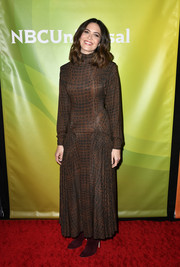 Mandy Moore attended the 2020 NBCUniversal Winter Press Tour wearing a brown turtleneck print dress by Proenza Schouler.