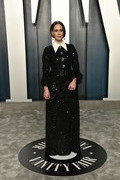 Sarah Paulson glittered in a collared black sequined gown by Andrew Gn at the 2020 Vanity Fair Oscar party.