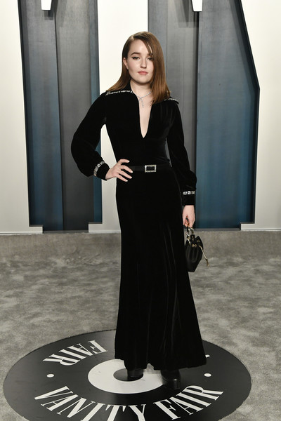 Kaitlyn Dever was edgy-glam in a vintage black Pierre Balmain gown at the 2020 Vanity Fair Oscar party.