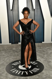 Tiffany Haddish chose a shimmery off-the-shoulder black dress for the 2020 Vanity Fair Oscar party.