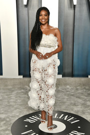 Gabrielle Union looked darling in a strapless, flower-appliqued white dress by Giambattista Valli Couture at the 2020 Vanity Fair Oscar party.