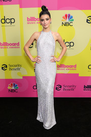 Dixie D'Amelio looked ultra glam in a silver halter gown by Ralph & Russo Couture at the 2021 Billboard Music Awards.