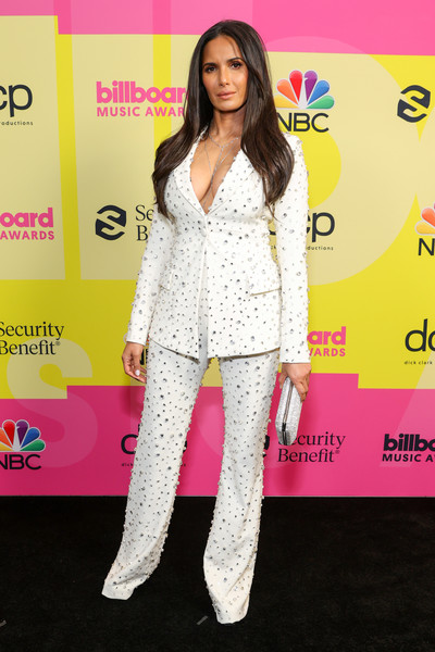 Padma Lakshmi opted for a beaded cream pantsuit by Christian Siriano when she attended the 2021 Billboard Music Awards.