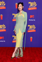 Jaime Xie looked modern in a color-block dress with a tasseled hem at the 2021 MTV Movie & TV Awards: UNSCRIPTED.