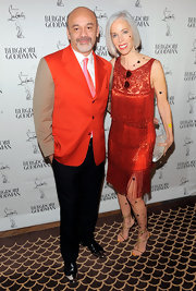 Linda Wells jumped in on the flapper trend in this red fringe dress for the Christian Louboutin celebration.