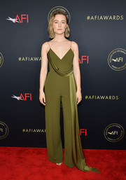 Saoirse Ronan opted for an olive-green drape-detail jumpsuit by Alex Perry when she attended the 2020 AFI Awards.