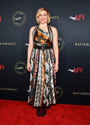 Greta Gerwig donned an Oscar de la Renta scarf-print dress with an asymmetrical neckline for the 2020 AFI Awards.