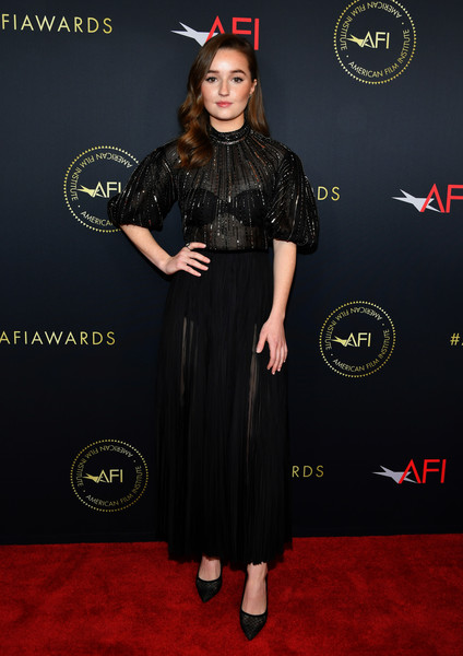 Kaitlyn Dever complemented her dress with a pair of dotted pumps by Stuart Weitzman.