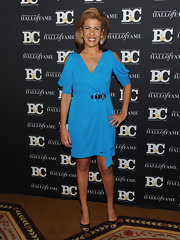 Hoda Kotb posed for the camera in a blue wrap dress at the Broadcasting & Cable Hall of Fame Awards.