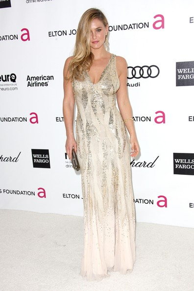 Bar Refaeli wore this glimmering silver and white gown to the Elton John Oscar viewing party.