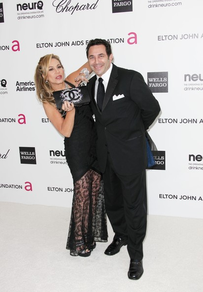 More Pics of Adrienne Maloof Gemstone Inlaid Clutch (1 of 8) - Clutches Lookbook - StyleBistro [suit,formal wear,premiere,fashion,tuxedo,carpet,event,red carpet,flooring,award,arrivals,paul nassif,adrienne maloof,west hollywood park,california,elton john aids foundation,oscar viewing party,l]