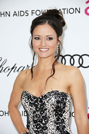 Danica McKellar wore a pair of mineral drop earrings at the Elton John Oscar viewing party.