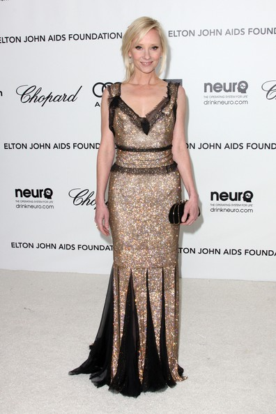 Anne Heche was a vision in this gold sequined number with sheer black chiffon godets.