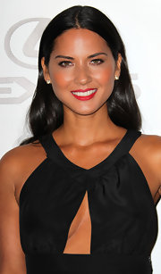 Actress Olivia Munn wore 18-karat rose gold and pave diamond panther stud earrings while attending the 20th Annual Environmental Media Awards.
