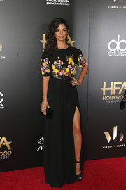 Camila Alves finished off her outfit with black platform sandals by Schutz.