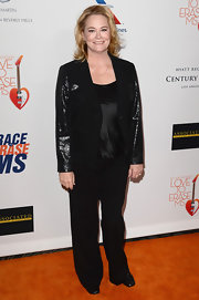 Cybill Shepard chose a sparkly blazer to add some pizazz to her monochromatic look at the Love to Erase MS gala in California.