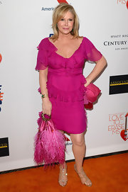 Kathy Hilton showed off her love of pink when she wore this hot pink ruffled dress.