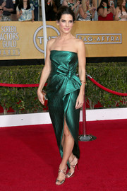Sandra Bullock shined in a metallic green strapless gown by Lanvin during the SAG Awards.