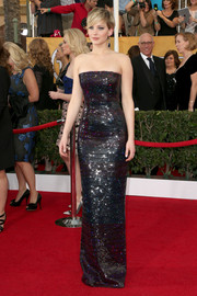 Jennifer Lawrence looked heavenly in a sparkly black strapless gown by Dior during the SAG Awards.
