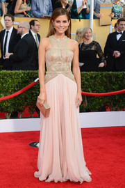 Maria Menounos went for modern glamour with this nude Rani Zakhem gown at the SAG Awards.