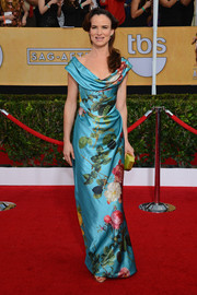 Juliette Lewis went the ultra-feminine route in a floral cowl-neck gown by Vivienne Westwood during the SAG Awards.