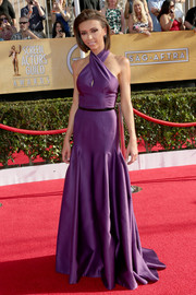 Giuliana Rancic was a stunner at the SAG Awards in a purple halter gown by Basil Soda.
