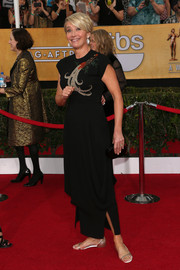 Emma Thompson hit the SAG Awards red carpet wearing a vintage black evening dress with an embellished bodice.
