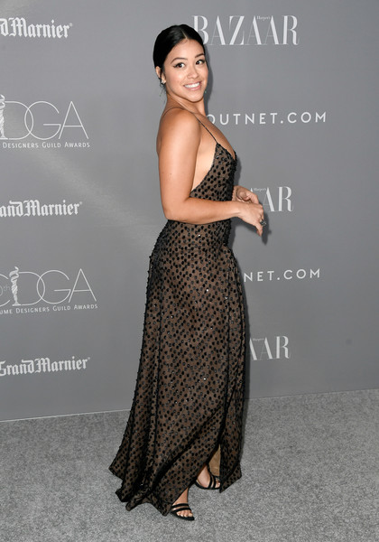 More Pics of Gina Rodriguez Strappy Sandals (3 of 12) - Gina Rodriguez Lookbook - StyleBistro [dress,clothing,shoulder,premiere,fashion model,hairstyle,strapless dress,fashion,gown,joint,arrivals,gina rodriguez,costume designers guild awards,beverly hills,california,the beverly hilton hotel,cdga]
