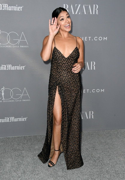 More Pics of Gina Rodriguez Strappy Sandals (2 of 12) - Gina Rodriguez Lookbook - StyleBistro [dress,clothing,fashion model,shoulder,gown,fashion,leg,thigh,hairstyle,neck,arrivals,gina rodriguez,costume designers guild awards,beverly hills,california,the beverly hilton hotel,cdga]