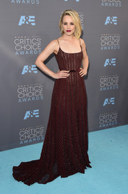 Rachel McAdams wowed in a beaded burgundy mesh-stripe dress by Elie Saab at the Critics' Choice Awards.
