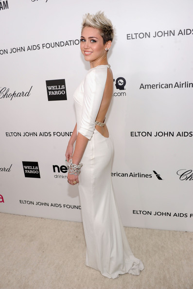 Miley Cyrus Wore Azzaro at Elton John's 2013 Oscars Party