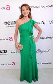 Jane Seymour topped off her evening look at Elton John's Oscar party with a gold metallic clutch.