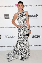Nina Dobrev showed she's not one to shy away from a little print with this black and white gown.
