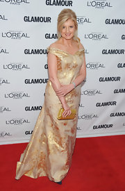 Arianna Huffington was golden on the Glamour red carpet in an off-the-shoulder gown.