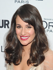 Lea Michele looked ultra feminine with side-swept bangs and lots of shiny curls at the 2011 'Glamour' Women of the Year Awards.