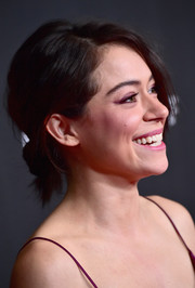 Tatiana Maslany rocked a messy bun at the Hollywood Film Awards.