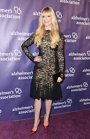 Beth Behrs chose this black lace godet-paneled frock for her evening look at 'A Night at Sardi's.'