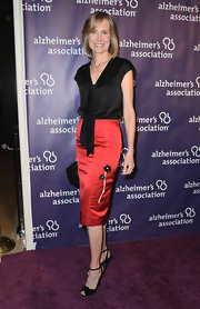 Willow Bay chose a sleek satin pencil skirt with a floral applique for her evening look.