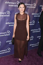 Zelda Williams opted for a sheer burgundy gown for her evening look at the 'A Night at Sardi's' Gala.