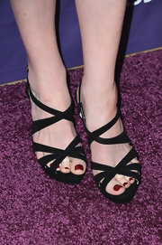 Sarah Rafferty chose black strappy sandals for her evening look at 'A Night at Sardi's' in Beverly Hills.