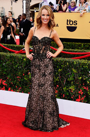 Brooke Anderson was boudoir-chic at the SAG Awards in a black lace corset gown with a nude underlay and clustered beading.