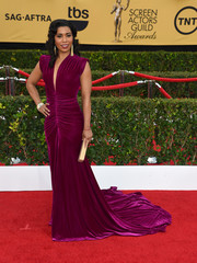 Jessica Pimentel looked divine at the SAG Awards in a ruched fuchsia gown by Marc Bouwer.