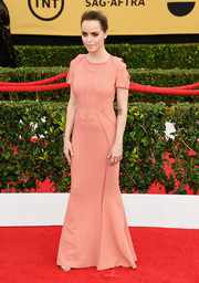 Taryn Manning looked a little less edgy than usual in an antique-rose sheer-panel gown by Elisabetta Franchi at the SAG Awards.