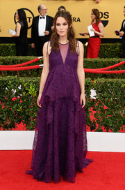 Keira Knightley showed off her dreamy maternity style on the SAG Awards red carpet with this Erdem gown boasting layers of vibrant purple eyelet.